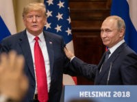 HELSINKI, FINLAND - JULY 16: U.S. President Donald Trump (L) and Russian President Vladimir Putin shake hands during a joint press conference after their summit on July 16, 2018 in Helsinki, Finland. The two leaders met one-on-one and discussed a range of issues including the 2016 U.S Election collusion. (Photo …