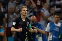 Croatia midfielder Luka Modric celebrates scoring in the penalty shootout in the World Cup quarter-final against Russia