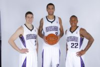 Tyler Honeycutt (C), pictured with two Sacramento Kings teammates in 2011, barricaded himself inside a home in Los Angeles and apparently shot himself