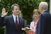 Brett Kavanaugh, seen here being sworn in as a US Court of Appeals judge for the District of Columbia in 2006, is among the finalists being considered by President Donald Trump for a spot on the US Supreme Court