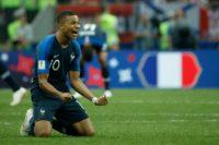 France forward Kylian Mbappe celebrates winning the World Cup