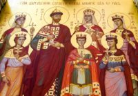 An Orthodox icon of the last Russian tsar and his family in a cathedral built on the exact place where the Bolsheviks executed them