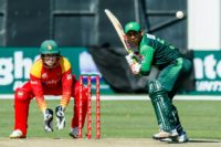 "Pakistan captain Sarfraz Ahmed, batting, hailed Wednesday's ODI win over Zimbabwe as a ""great performance."""
