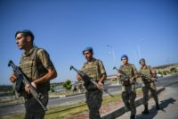 Turkish soldiers patrol outside the site of the Aliaga court and prison complex, during the trial of US pastor Andrew Brunson, on July 18, 2018