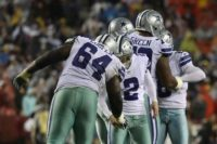 With a 14 percent leap in value to $4.8 billion (4.12 billion euros), the NFL Dallas Cowboys, some of whom are pictured October 2017, topped the annual Forbes magazine list of the world's highest valued sports teams for the third consecutive year