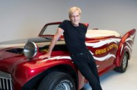 """US director Randal Kleiser with the """"Grease Lightning"""" car as the hit movie turns 40"""