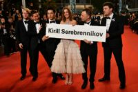 (From L) Russian producer Ilya Stewart, Russian cinematographer Vladislav Opeliants, German actor Teo Yoo, Russian actress Irina Starshenbaum, Russian actor Roma Zver and French producer Charles-Evrard Tchekhoff protested on behalf of Russian director Kirill Serebrennikov at the Cannes Film Festival