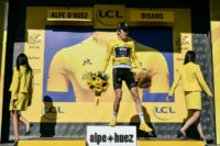 Britain's Geraint Thomas was booed by fans as he stepped on to the podium after winning the gruelling 12th stage of the Tour de France to l'Alpe d'Huez.