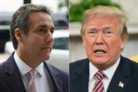 (COMBO) This combination of pictures created on April 11, 2018 shows Michael Cohen (L), and US President Donald Trump