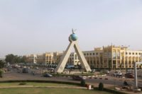 This file picture taken on March 21, 2017, shows the peace monument in the Malian capital Bamako