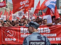 "Demonstrators in Moscow chanted ""Pension-off Putin!"" and carried banners with slogans including ""We want to live on our pensions and not die at work"""