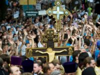 Believers of the Ukrainian Orthodox Church took part in a religious procession in Kiev, marking the 1,030th anniversary of the Christianization of the country.