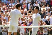 Japan's Kei Nishikori (R) seventh seed enters the 50th Washington Open with confidence after his first Wimbledon quarter-final appearance, where he lost to eventual winner Novak Djokovic (L)
