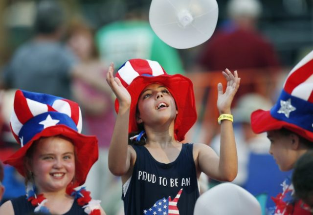 Americans celebrating Independence Day with food, fireworks