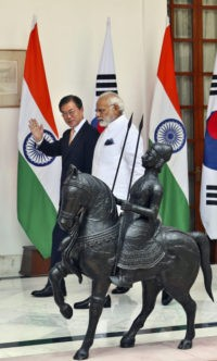 Moon Jae-in and Narendra Modi
