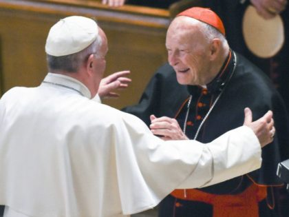 In this Sept. 23, 2015 file photo, Pope Francis reaches out to hug Cardinal Archbishop emeritus Theodore McCarrick after the Midday Prayer of the Divine with more than 300 U.S. Bishops at the Cathedral of St. Matthew the Apostle in Washington. Pope Francis has accepted U.S. prelate Theodore McCarrick's offer …