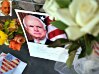 A makeshift memorial for Sen. John McCain outside his office in Phoenix, Arizona.