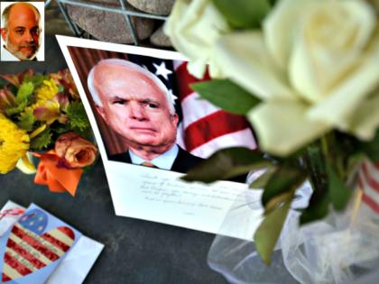 A makeshift memorial for Sen. John McCain outside his office in Phoenix, Arizona.