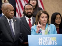 House Minority Leader Nancy Pelosi of Calif., accompanied by Rep. Elijah Cummings, D-Md., left, Rep. Al Green, D-Texas, second from left, Leadership Conference For Civil And Human Rights President and CEO Vanita Gupta, right, and others, speaks at a news conference on Capitol Hill in Washington, Tuesday, May 8, 2018, …