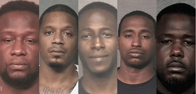 Charles Randle, Christopher Walker, Willie Dixon, Louis Williams, and Louis Jones are charged in connection to an alleged burglary of a pharmacy in southwest Houston. (Photos: Houston Police Department)