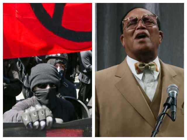 Antifa and Louis Farrakhan, both still on Facebook despite glorifying violence and using dehumanizing language