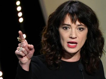 Italian actress Asia Argento speaks on stage on May 19, 2018 during the closing ceremony of the 71st edition of the Cannes Film Festival in Cannes, southern France. - Italian actress and sexual abuse campaigner Asia Argento denied on August 21, 2018 having had a sexual relationship five years ago …