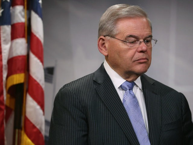 U.S. Sen. Bob Menendez (D-NJ) attends a news conference on drilling for oil in the Atlantic Ocean April 22, 2015 in Washington, DC. The Senators introduced the Clean Ocean and Safe Tourism Anti-Drilling Act, which would prohibit the US Department of Interior from issuing leases for the exploration, development or …