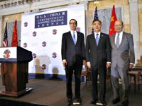 From left, Treasury Secretary Steve Mnuchin, Chinese Vice Premier Wang Yang and Commerce Secretary Wilbur Ross ahead of the opening of the U.S.-China Comprehensive Economic Dialogue on July 19, 2017, at the Treasury Department in Washington.
