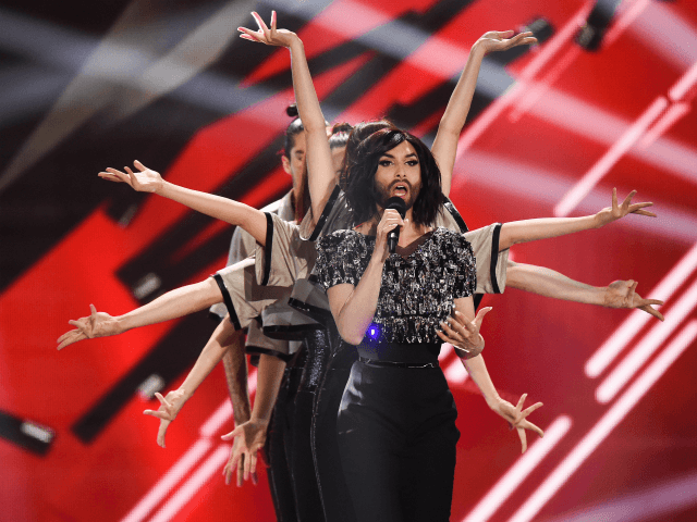 Conchita Wurst performs on stage during rehearsals for the final of the Eurovision Song Contest 2015 on May 22, 2015 in Vienna, Austria. The final of the Eurovision Song Contest 2015 will take place on May 23, 2015. (Photo by Nigel Treblin/Getty Images)