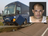 Police say the man who threatened Greyhound bus passengers and its driver, which led to a crash near Fountain Monday evening, is a Mexican national who was held at gunpoint by a passerby until police arrived to the scene. Edmundo Arellanes-Audelo, 47, faces felony criminal mischief, felony menacing, hindering public …