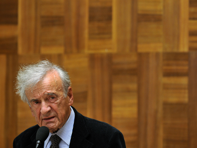 Nobel laureate and Holocaust survivor Elie Wiesel (R) delivers a speech during a conference on the sideline of a five-day UN review conference on racism at the United Nations Offices on April 21, 2009 in Geneva. Wiesel said he failed to understand why Iran's President was allowed to make 'anti-Semitic' …