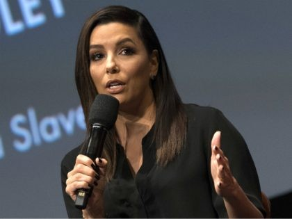 Actress/director/producer Eva Longoria speaks during the 3rd annual Careers in Film Summit presented by The Academy of Motion Picture Arts and Sciences, on October 14, 2017, in Beverly Hills California. / AFP PHOTO / VALERIE MACON (Photo credit should read VALERIE MACON/AFP/Getty Images)