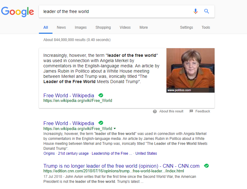 Google Declares Angela Merkel 'Leader of the Free World'