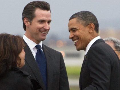 Gavin Newsom and Barack Obama (Saul Loeb / AFP / Getty)