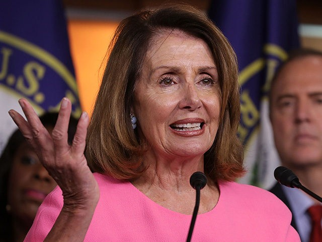 WASHINGTON, DC - JULY 17: House Minority Leader Nancy Pelosi (D-CA) speaks during a news conference with Democratic members of the House Intelligence Committee about the Trump-Putin Helsinki summit in the U.S. Capitol Visitors Center July 17, 2018 in Washington, DC. Past and present members of the committee were very …