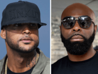 (COMBO) This combination of file pictures made on August 1, 2018, shows French rapper Booba (L) on May 19, 2014, in Cannes, southern France, and French rapper Kaaris (R) on March 25, 2015, in Paris. - French rappers Booba and Kaaris were arrested and remanded in custody by French border …
