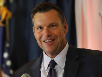 Republican primary candidate for Governor Kris Kobach, speaks to supporters just after midnight in a tight race with Jeff Colyer that is too close to call. Kobach was supported by President Trump against incumbent Jeff Colyer
