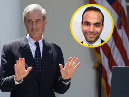 INSET: George Papadopoulos. US President Barack Obama applauds outgoing Federal Bureau of Investigations (FBI) director Robert Mueller (L) in the Rose Garden at the White House in Washington,DC on June 21, 2013 as he nominates Jim Comey to be the next FBI director. Comey, a deputy attorney general under George …