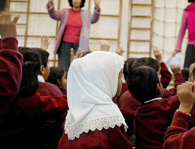 Muslim school UK, head scarf, hijab, trojan horse