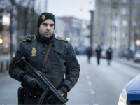 A police officer guards the street around the Noerrebro train station in Copenhagen on February 15, 2015 after a man has been shot in a police action following two fatal attacks in the Danish capital. Police said video surveillance indicated the man was behind an attack at a panel discussion …