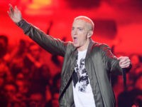 LOS ANGELES, CA - APRIL 13: Recording artist Eminem performs onstage at the 2014 MTV Movie Awards at Nokia Theatre L.A. Live on April 13, 2014 in Los Angeles, California. (Photo by Kevork Djansezian/Getty Images for MTV)