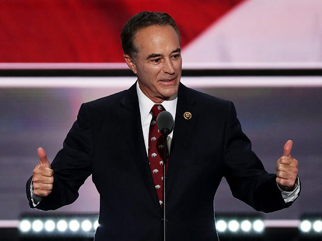 CLEVELAND, OH - JULY 19: Rep. Chris Collins (R-NY) delivers a speech on the second day of the Republican National Convention on July 19, 2016 at the Quicken Loans Arena in Cleveland, Ohio. An estimated 50,000 people are expected in Cleveland, including hundreds of protesters and members of the media. …