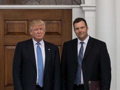 BEDMINSTER TOWNSHIP, NJ - NOVEMBER 20: (L to R) President-elect Donald Trump and Kris Kobach, Kansas secretary of state, pose for a photo following their meeting with president-elect at Trump International Golf Club, November 20, 2016 in Bedminster Township, New Jersey. Trump and his transition team are in the process …