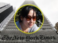 Inset: Sarah Jeong. NEW YORK, NY - JULY 27: The New York Times building stands in Manhattan on July 27, 2017 in New York City. The New York Times Company shares have surged to a nine-year high after posting strong earnings on Thursday. Partly due to new digital subscriptions following …