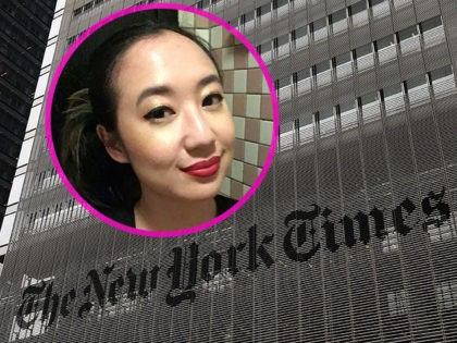 INSET: Writer Sarah Jeong. NEW YORK, NY - JULY 27: The New York Times building stands in Manhattan on July 27, 2017 in New York City. The New York Times Company shares have surged to a nine-year high after posting strong earnings on Thursday. Partly due to new digital subscriptions …