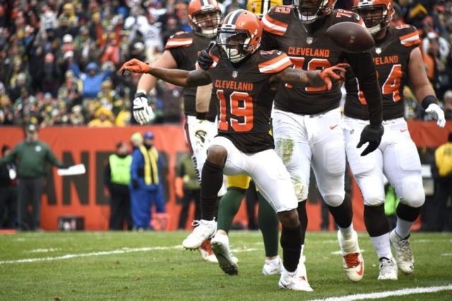 CLEVELAND, OH - DECEMBER 10: Corey Coleman #19 of the Cleveland Browns celebrates a touchdown in the third quarter against the Green Bay Packers at FirstEnergy Stadium on December 10, 2017 in Cleveland, Ohio. (Photo by Jason Miller/Getty Images)