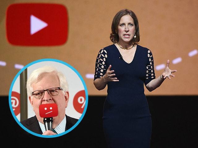 NEW YORK, NY - MAY 03: YouTube CEO Susan Wojcicki speaks onstage during the YouTube Brandcast 2018 presentation at Radio City Music Hall on May 3, 2018 in New York City. (Photo by Noam Galai/Getty Images) INSET: Dennis Prager at the 'Now What, Republicans?' panel during Politicon at Pasadena Convention …