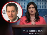 INSET: Aaron Blake of the Washington Post. WASHINGTON, DC - JUNE 18: White House Press Secretary Sarah Sanders conducts a White House daily news briefing at the James Brady Press Briefing Room of the White House June 18, 2018 in Washington, DC. Sanders held a daily news briefing to answer …