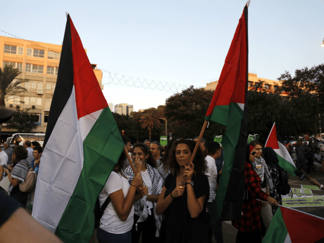 Arab Israelis carry Palestinian flags during a demonstration to protest against the 'Jewish Nation-State Law' in the Israeli coastal city of Tel Aviv on August 11, 2018. - The controversial law passed last month declaring the country the nation state of the Jewish people. This has led to concerns that …