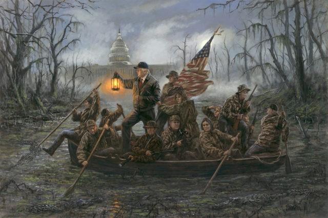 Artist's Painting of Trump 'Crossing the Swamp' Causes Social Media Firestorm